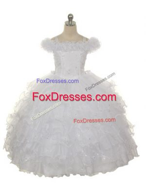 New Arrival Sleeveless Ruffles and Ruffled Layers Lace Up Child Pageant Dress