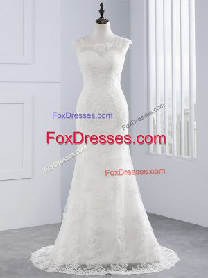 Unique White Wedding Dress Lace Sleeveless Lace and Appliques