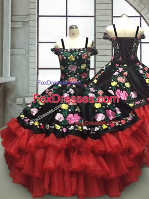 Beauteous Floor Length Red And Black Child Pageant Dress Off The Shoulder Sleeveless Lace Up