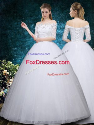 High End Tulle Half Sleeves Floor Length Bridal Gown and Beading and Embroidery