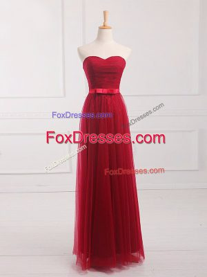 Wine Red Sweetheart Neckline Belt Court Dresses for Sweet 16 Sleeveless Lace Up