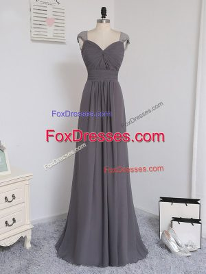 Traditional Grey Column/Sheath Straps Cap Sleeves Chiffon Brush Train Zipper Lace and Ruching Damas Dress