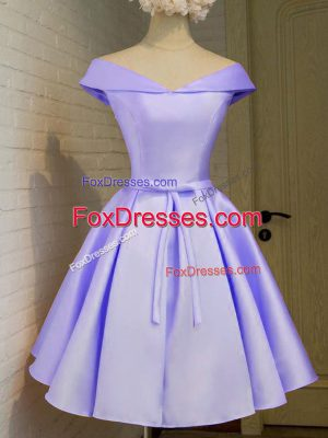 Traditional Knee Length A-line Cap Sleeves Lavender Quinceanera Court Dresses Lace Up