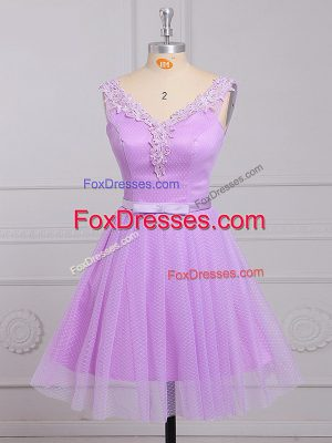 Custom Designed Lilac A-line Lace V-neck Sleeveless Appliques and Belt Mini Length Lace Up Vestidos de Damas
