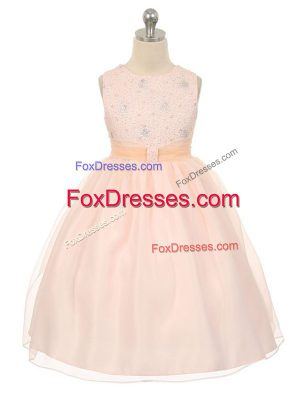 Scoop Sleeveless Child Pageant Dress Knee Length Beading Baby Pink Tulle