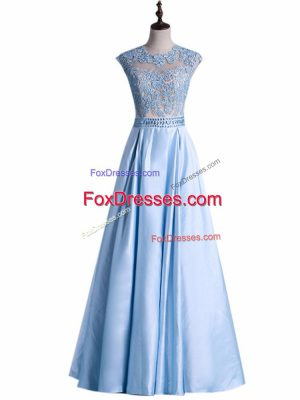 Taffeta Scoop Sleeveless Zipper Beading and Lace Prom Dress in Light Blue