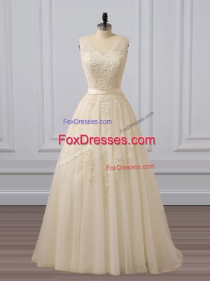 Champagne Tulle Lace Up Homecoming Dress Sleeveless Brush Train Lace and Appliques
