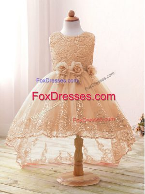 New Style Champagne Zipper Scoop Lace and Bowknot and Hand Made Flower Flower Girl Dress Tulle Sleeveless