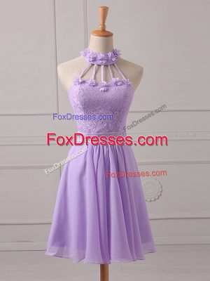 Stylish Chiffon Sleeveless Mini Length Dama Dress and Lace and Appliques