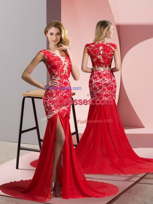 Coral Red Evening Dress Prom and Party with Lace V-neck Sleeveless Brush Train Zipper