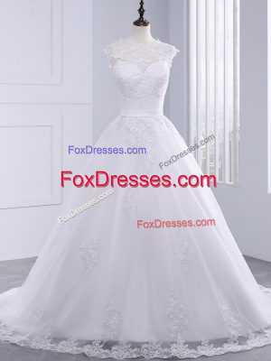 Pretty Sleeveless Tulle Brush Train Clasp Handle Wedding Dresses in White with Lace
