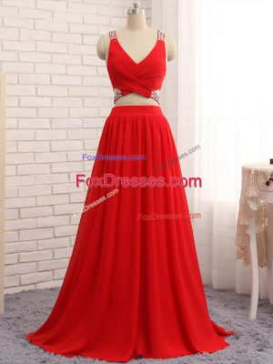 Captivating Red Prom Dress Prom and Party and Wedding Party with Beading Straps Sleeveless Brush Train Criss Cross