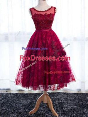 Tea Length Zipper Quinceanera Court Dresses Fuchsia for Prom and Party and Wedding Party with Lace