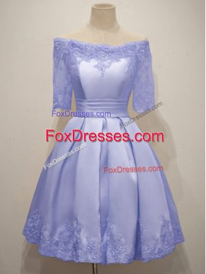 Elegant Knee Length Lavender Quinceanera Court Dresses Off The Shoulder Half Sleeves Lace Up