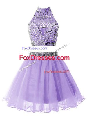 Elegant Lilac Organza Zipper Wedding Party Dress Sleeveless Knee Length Beading