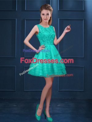 Knee Length Zipper Court Dresses for Sweet 16 Turquoise for Prom and Party with Lace and Ruffled Layers