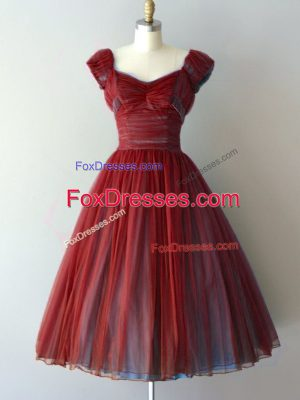 Sumptuous Cap Sleeves Chiffon Knee Length Lace Up Dama Dress in Rust Red with Ruching