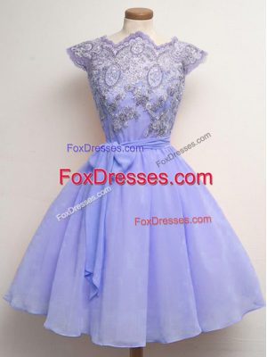 Most Popular Lavender Scalloped Neckline Lace and Belt Bridesmaid Dresses Cap Sleeves Lace Up