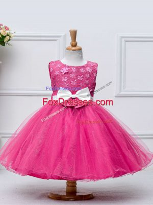 Fashion Knee Length Hot Pink Party Dress Wholesale Tulle Sleeveless Lace and Bowknot