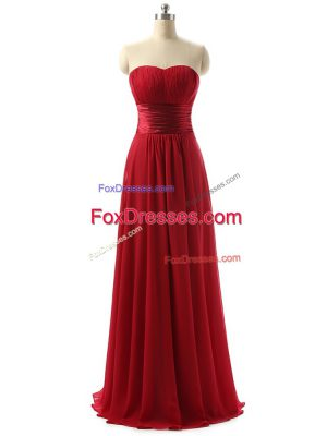 Floor Length Wine Red Dama Dress for Quinceanera Sweetheart Sleeveless Lace Up