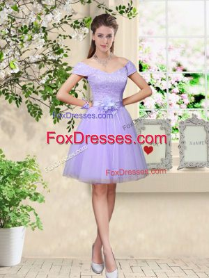 Lilac A-line Tulle V-neck Cap Sleeves Lace and Belt Knee Length Lace Up Wedding Party Dress
