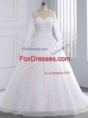 Sweetheart Sleeveless Court Train Lace Up Wedding Dresses White Tulle