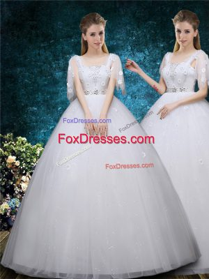 White Short Sleeves Floor Length Beading and Appliques Lace Up Wedding Gown