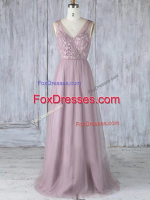 Hot Selling Empire Bridesmaids Dress Lavender V-neck Tulle Sleeveless Floor Length Criss Cross