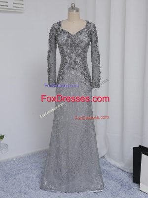 Dramatic Grey Lace Zipper Sweetheart Long Sleeves Floor Length Mother of Bride Dresses Beading and Lace