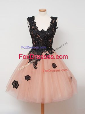 Knee Length Zipper Bridesmaid Dress Peach for Prom and Party and Wedding Party with Lace