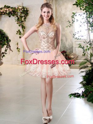 Latest Peach A-line Scoop Sleeveless Tulle Mini Length Lace Up Beading and Lace and Appliques Prom Dresses