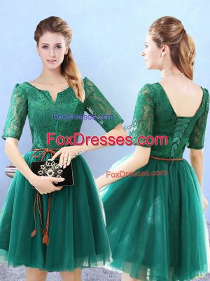Green Scoop Lace Up Lace Dama Dress for Quinceanera Half Sleeves