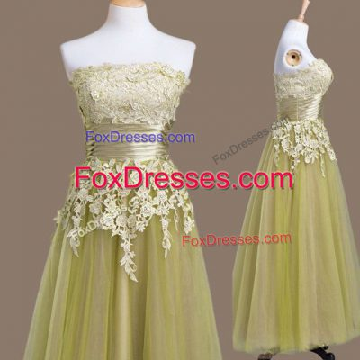 Vintage Olive Green Tulle Lace Up Bridesmaid Gown Sleeveless Tea Length Appliques