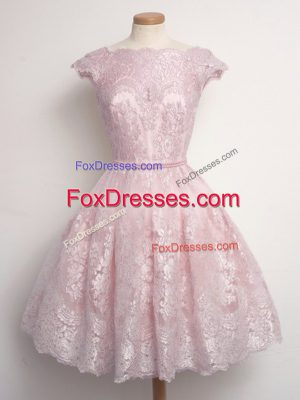 High End Baby Pink Dama Dress for Quinceanera Prom and Party and Wedding Party with Lace Scalloped Cap Sleeves Lace Up