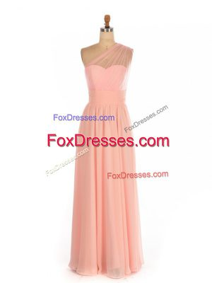 Wonderful Peach Sleeveless Ruching Floor Length Bridesmaid Dresses