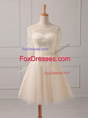 Champagne Tulle Lace Up Scoop Half Sleeves Mini Length Dama Dress Lace and Belt