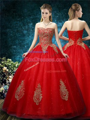 Fancy Red Ball Gowns Tulle Off The Shoulder Sleeveless Appliques Floor Length Lace Up Wedding Dress