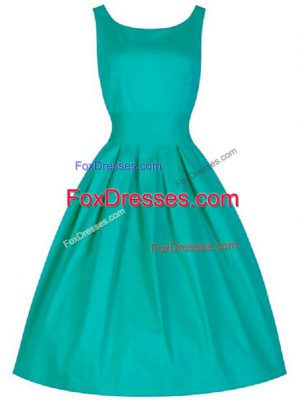 Great Turquoise A-line Ruching Court Dresses for Sweet 16 Lace Up Taffeta Sleeveless Knee Length
