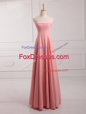 Watermelon Red Empire Strapless Sleeveless Chiffon Floor Length Lace Up Ruching Quinceanera Court of Honor Dress