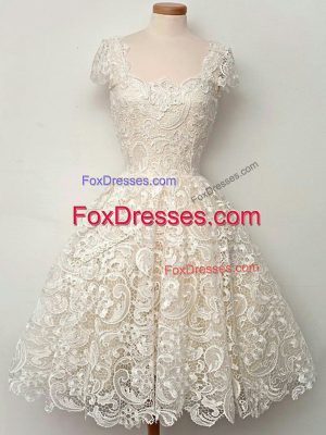 Lace Quinceanera Court of Honor Dress Champagne Lace Up Cap Sleeves Knee Length