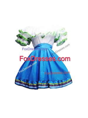 New Style Mini Length A-line Short Sleeves Blue And White Prom Dress Zipper