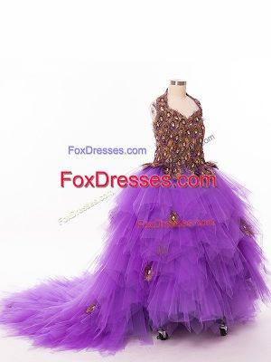 Ruffles Child Pageant Dress Eggplant Purple Lace Up Sleeveless Court Train