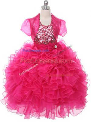 Enchanting Scoop Sleeveless Lace Up Party Dress for Girls Hot Pink Organza