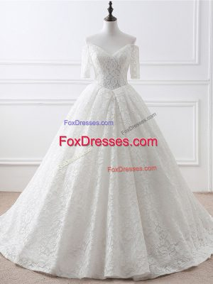 White Bridal Gown Organza and Lace Brush Train Half Sleeves Lace and Appliques