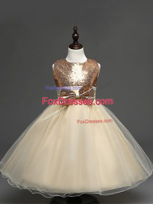 Champagne Zipper Scoop Sequins and Bowknot Casual Dresses Tulle Sleeveless