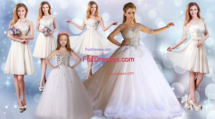 Delicate Beading Vestidos de Quinceanera White Lace Up Half Sleeves Floor Length