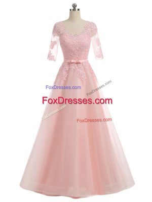 Short Sleeves Organza Floor Length Zipper in Pink with Lace and Appliques