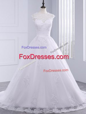 New Style Tulle High-neck Sleeveless Brush Train Zipper Lace and Appliques and Bowknot Wedding Dresses in White