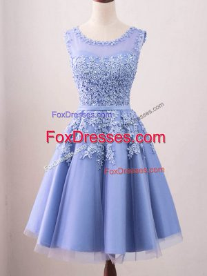Lavender A-line Lace Court Dresses for Sweet 16 Lace Up Tulle Sleeveless Knee Length