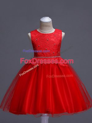 Knee Length Red Little Girls Pageant Dress Organza Sleeveless Lace